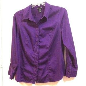 LANE BRYANT 14/16W Purple Button Up L/S Blouse